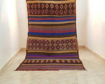 Amazing vintage rug & blanket colorful (2.64 X 1.35 m) (140 X 53 inches) (8,6 X 4,4 Feet)