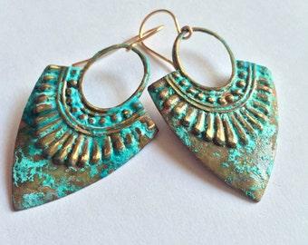 Verdigris Tribal Shield Earrings/ Blue-Green Patina Earrings/ Patina Jewelry/ Patina Earrings/ Rustic Patina Jewelry