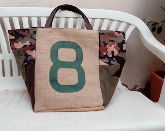 Burlap and camouflage tote bag