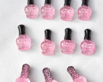 6 PC Light Pink Glitter Resin Nail Polish Bottles Kawaii Decoden Kitsch Flatbacks Cabochons AZ417162
