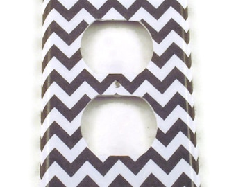 Light Switch Cover Outlet  Wall Decor Switchplate Switch Plate in  Gray Chevron  (154O)