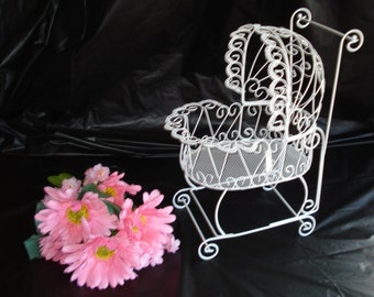 """15""""  Antique Wire Baby Carriage Pram  - Great for Baby Shower Decorations"""