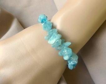 Aquamarine Chakra Bracelet, Positive Energy Bracelet, Gemstone Bracelet, Throat Chakra, Spiritual Jewelry