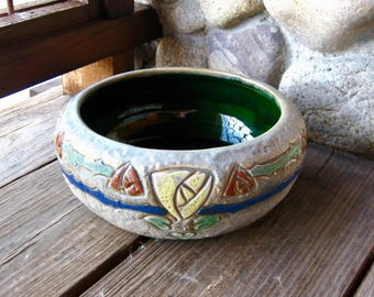 Large Roseville Pottery Mostique Bowl, Arts & Crafts, Mission Pottery, Vintage 1915, Antique American Art Pottery, Low Bowl, Bulb Bowl