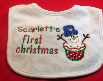 Personalized First Christmas Bib Snowman Design