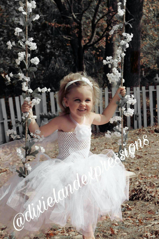 White Tulle Flower Girl Dress Toddler Tutu Dress Tulle Wedding