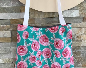 Shopping Tote Bag lightweight tote bag: Turquoise Vintage floral