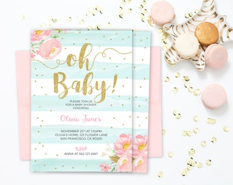 Baby Shower Invitation Mint and gold, Baby shower invitation girl floral baby shower invitation printable, Oh Baby shower invitation