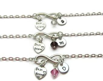 3 Best Friends Bracelets, Personalized Best Friends Bracelets, Bracelets For Best Friends, Swarovski Birthstone Bracelets, Initial Bracelets