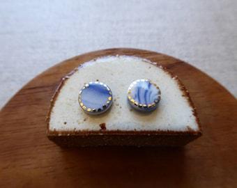Starburst Round Disc Earrings in Indigo Marble