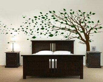Tall Tree with Leaves Blowing in the Wind - Wall Decals - Your Choice of Color