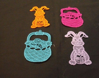 Lace Easter Decorations - Lace bunny - Lace Easter basket - Easter ornaments - Easter decorations - Easter Bunny - Easter Egg