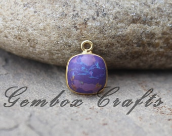 Purple Mohave Turquoise 12mm Cushion Square Cabochon 925 Sterling Silver Gold Plated Bezel Pendant