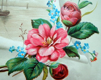 Easter colors gifts etsy antique easter card victorian embossed birds flowers roses scroll bright colors exceptional art old graphics ephemera negle Gallery