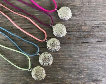 KIDS vegan suede aromatherapy necklace set party favor unique gift essential oil accessories essential oil lockets