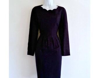Vintage Pencil Dress 90s Liz Claiborne Blue Polka Dot Wiggle Size Small