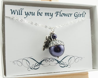 Will You Be My Flower Girl Proposal Necklace Junior Bridesmaid Gift Acorn Necklace with Dark Purple Swarovski Pearl and Oak Leaf