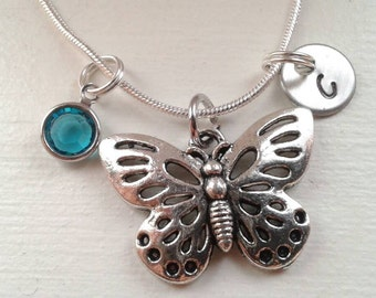 Butterfly Charm Necklace With Hand Stamped Initial Disc and Swarovski Birthstone - Personalized Jewelry - Butterfly Chain
