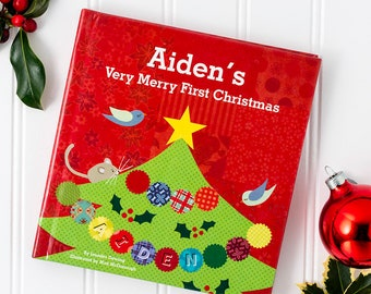 My Very Merry Christmas Personalized Custom Name Board Book for Baby   First Christmas