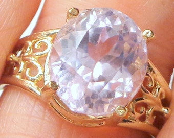 SALE,10k Solid Yellow Gold Filigree Ring,Flawless Gem,5.71Ct. Kunzite,Transparent Lavender/Pink, Large Faceted Natural Gemstone,Promise Ring