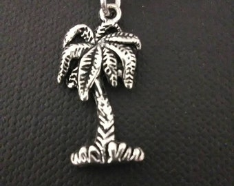 Palm tree necklace silver plated