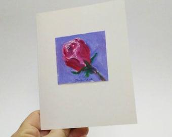 Rose greeting card, Original art card, blank card, Valentine card,Rose birthday card,  on 3 1/2 x 5 card
