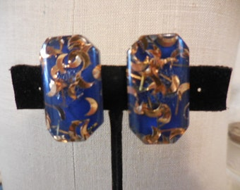 Vintage 1950s to 1960s Blue and Gold Tone Crescent Moons Silver Tone Clip on Earrings Retro Confetti Plastic