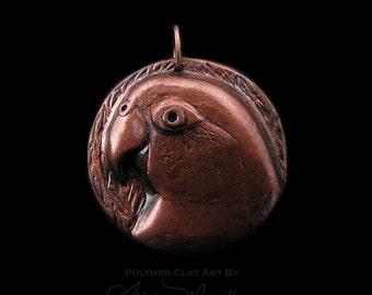 Unique Copper Finish Caique Medallion Clay Bird Art Parrot Pendant Faux Metal (no chain or cord)