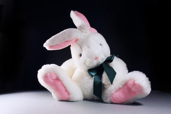 White Bunny Rabbit, Sterling Plush, Stuffed Animal, Large, Soft Fur, Pink Feet and Ears, Nursery Decor