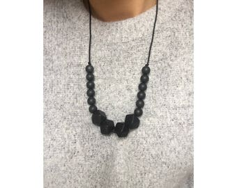 Black colour block Necklace