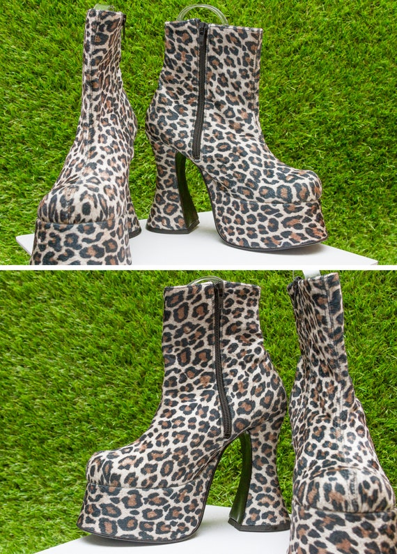 Chunky Velvet TATA UK Leopard Booties Velboa in Made 90s Boots Shoe Bratz Black Animal Cheetah Print 7 Mega Platform Vibes Ankle Vintage Tan 0vZTt