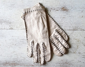 Grandoe Leather Gloves with Top Stitching Size 6-1/2
