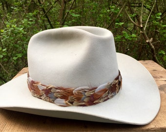 """Feather hat band on leather - natural pheasant feathers in brown, gray, rust & blue - 1 1/4"""" wide"""