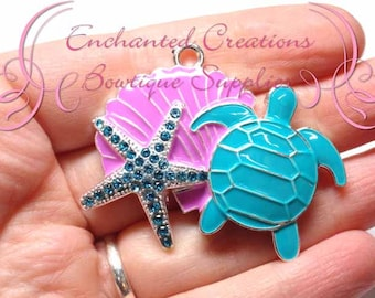 "2"" Pinkish Lavender and Aqua Beach Theme Pendant, Sea Turtle, Shell, Starfish, Pendant, Bookmark, KeyChain, Bookmark, Zipper Pull, Planner"