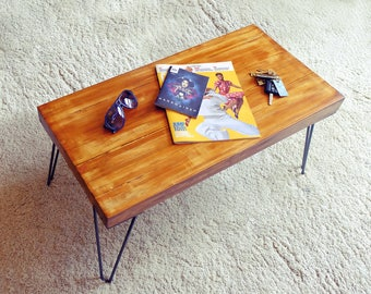 Handmade retro coffee table, made with reclaimed wood & hairpin legs. Finished with Danish oil.