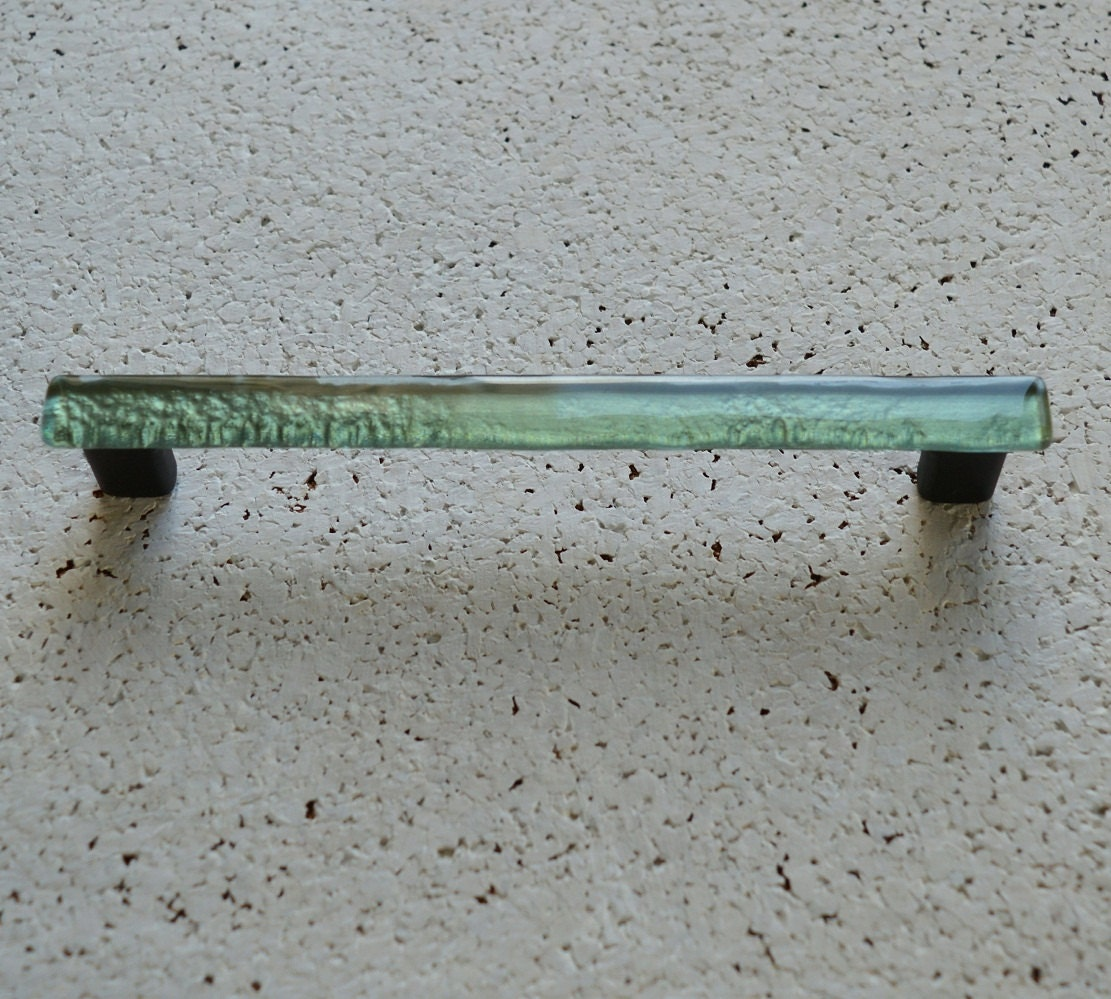 Glass Cabinet Pull in Gloden Mint. Fused Glass Furniture Pull.