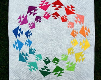 Taste the Rainbow - digital quilt pattern - a modern paper pieced birds in the air design - wall hanging size