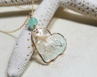 Heart Beach Glass Necklace, Mosaic Heart Pendant, Sea Glass Resin Necklace
