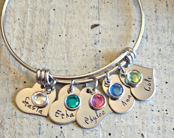 Hand stamped Expandable bangle /  Name Bracelet with birthstones / Family birthstone bracelet / Child's name Mom Personalized Bracelet