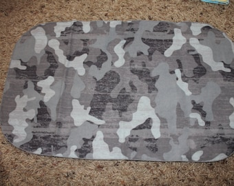 Gray Camo Flannel Burp Cloth