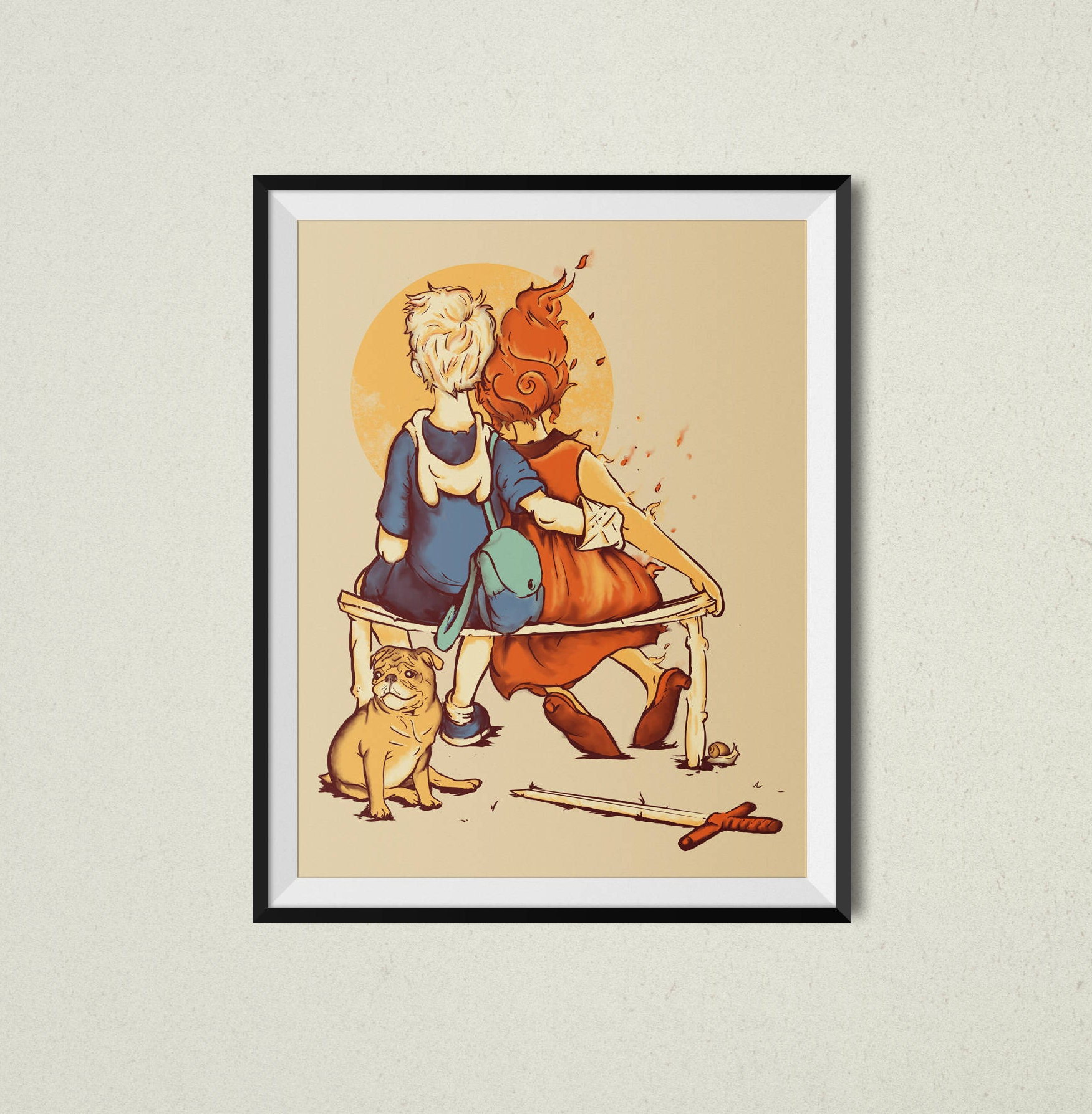 Rockwell Time Print Adventure Time Inspired Pop Culture