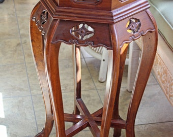 Wood Plant Stand Wood Display Stand Circa 1950s Bowed Legs Carved Wood  Details Rich Cherry Finish