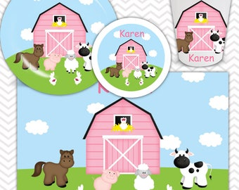 Barn Yard Pink Plate, Bowl, Cup, Placemat - Personalized Farm Dinnerware for Kids - Custom Tableware