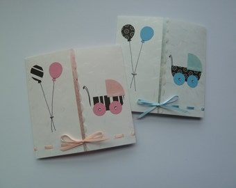 Handmade Card for Baby Shower or Congratulations on the Birth of a Baby (with ribbon and rhinestones)