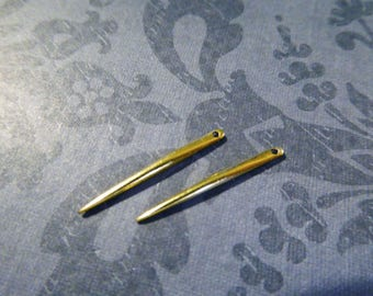 Gold Spike, 1 inch, 25 mm / Small Skinny SPIKE Dagger Needle Charm Pendant / Sterling Silver or 24k Gold Vermeil /  sp.s art