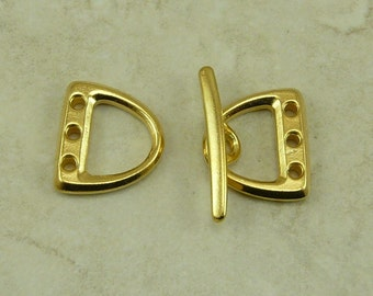 1 TierraCast 3 Hole D Ring Toggle Clasp Set - LEAD FREE 22kt Gold Plated Pewter - I ship Internationally 6185