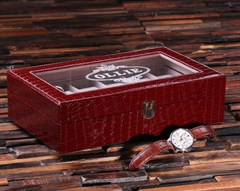 Set of 2 Watch Box  for Men Burgundy Chrocodile Personalized Christmas, Anniversary, Father's Day, Birthday, Graduation Gift