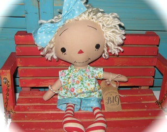Primitive Blonde Raggedy Doll Rag Doll-Mothers DAY Gift-One of a Kind Handmade-Kinda a BIG Deal