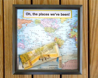 Shadow Box Ticket Holder - Ticket Box - Drop Top Shadow Box - Map Decor - Shadow Box Frame With Map - Unique Gift - Oh the Places We've Been