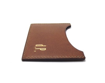 Monogrammed Leather Card Holder, Personalized Cognac Leather Card Case, Wallet, Leather Card Holder, Leather in Montreal, Handmade by Sakao